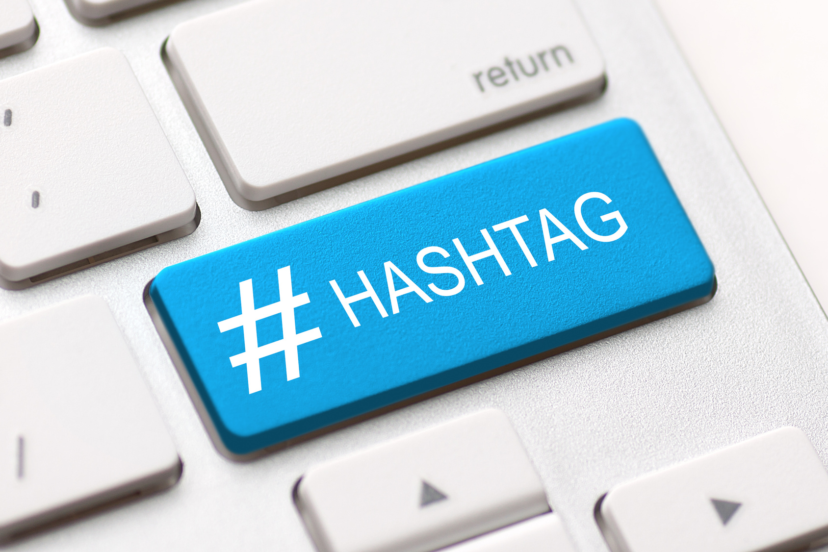 hashtag blogging blog content media social laptop keyboard key keypad business category concept - stock image